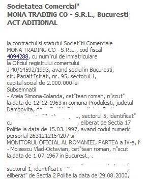 sters Mona Trading, actionari 2004, ateia si moisescu